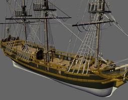 Licorne Galleon Sailing Pirate Ship 3D model