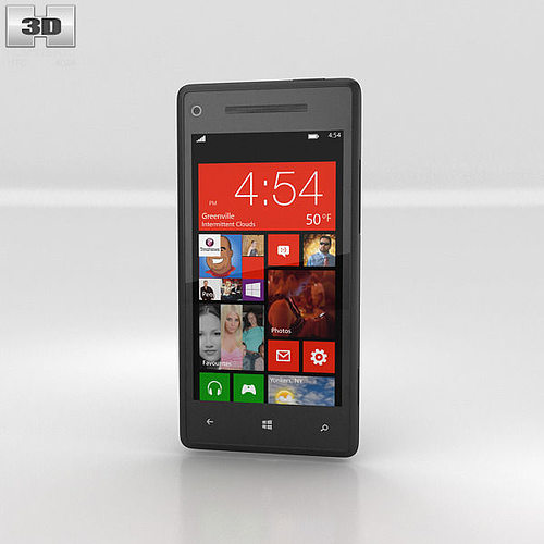 htc windows phone 8x graphite black 3d model max obj 3ds fbx c4d lwo lw lws 1
