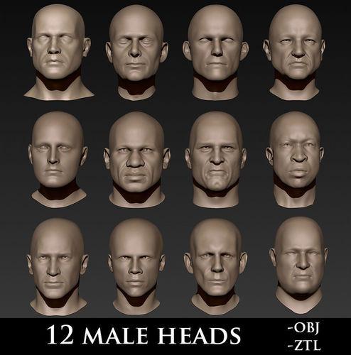 12 male heads 3d model obj mtl ztl 1