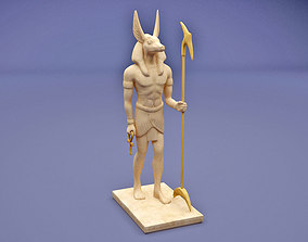 Anubis with head of jackal holding an 3D printable model 3