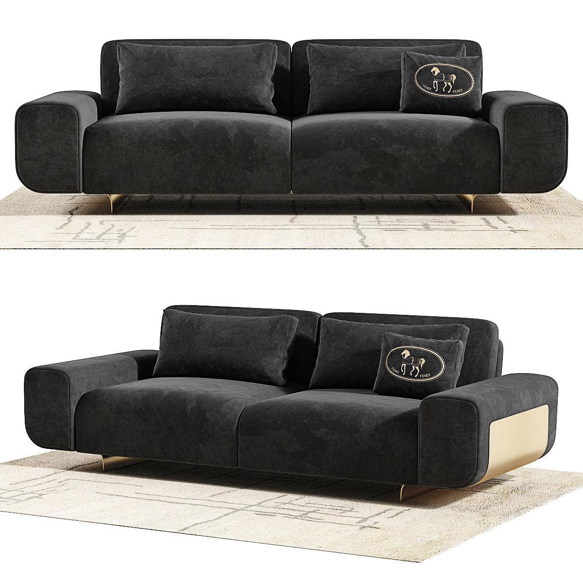 Fendi Casa Camelot Sofa Model Max Obj Mtl Fbx Unitypackage Prefab 4