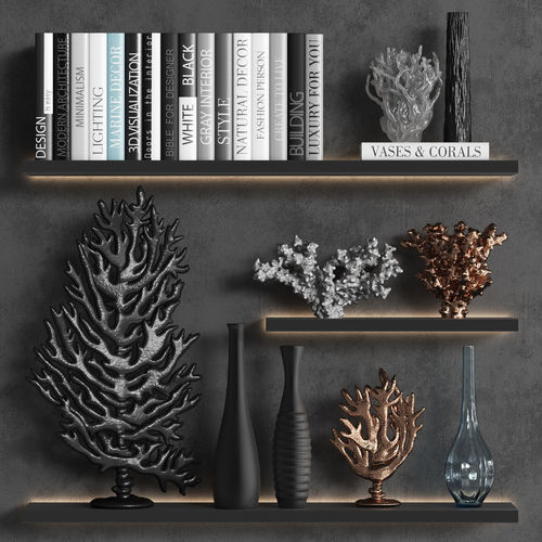 Decorative Set Of Organic Coral With Books And Vases 40D Extraordinary Designer Books Decor