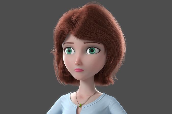 cartoon woman norig 3d model obj mtl fbx ma mb 1