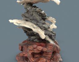 Suiseki Interior Decoration Grey Marble Mountain 3D asset