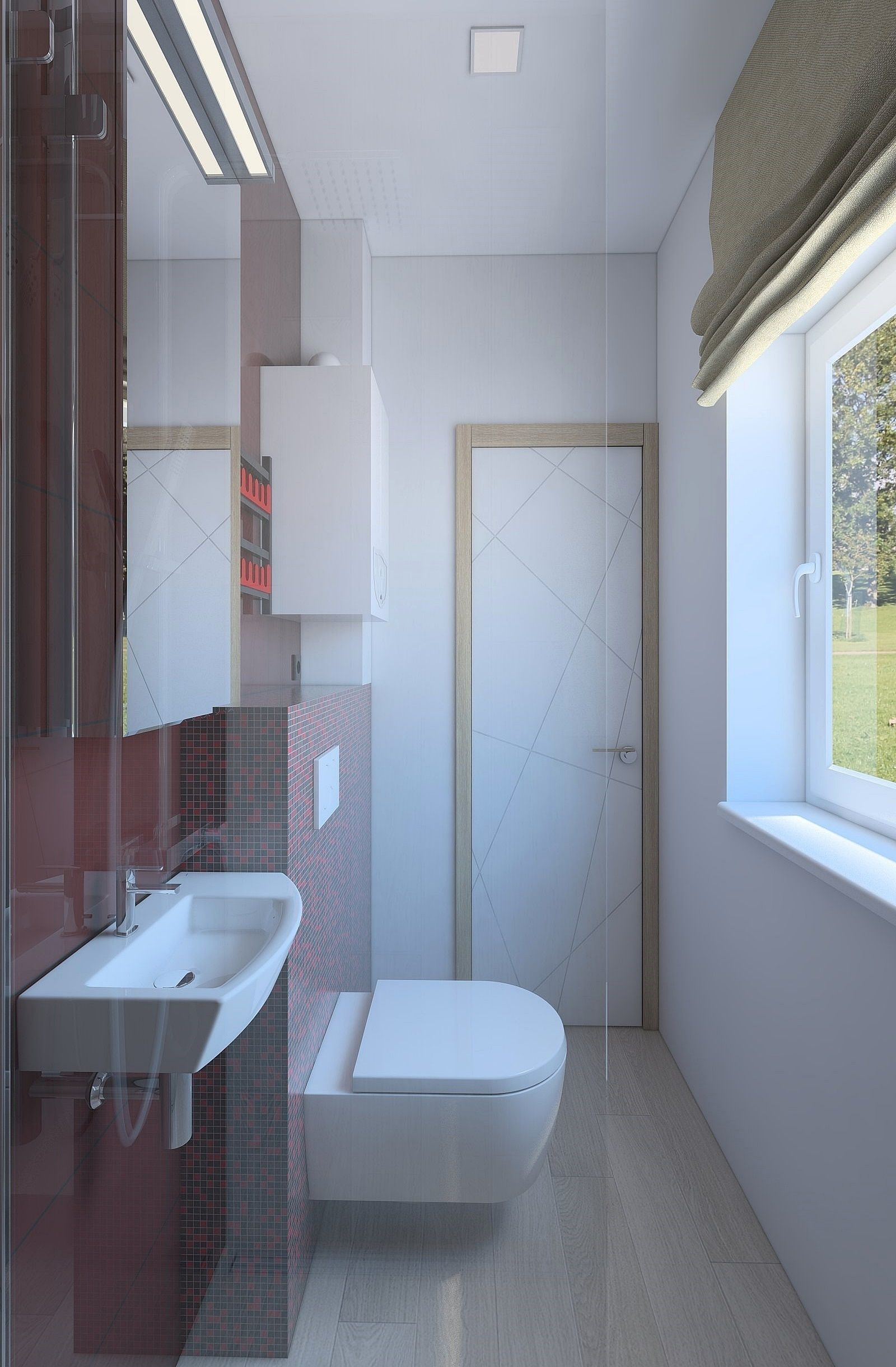 3D Small shower room with red tiles | CGTrader