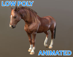 Low poly Quarter Horse Animated - Game Ready 3D model