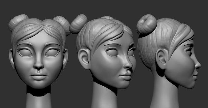 cartoon heads 3d model obj mtl stl 1