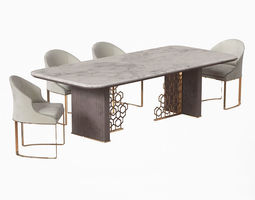 3D model Longhi Excelsior Table and Daphne chair