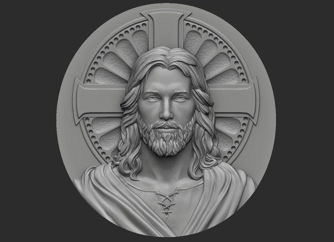 medallion of jesus no 1 3d model obj mtl stl 1