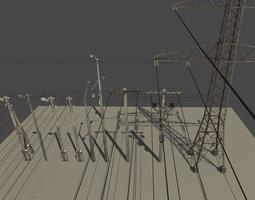 Utility Pole Power Transmission Line 3D asset