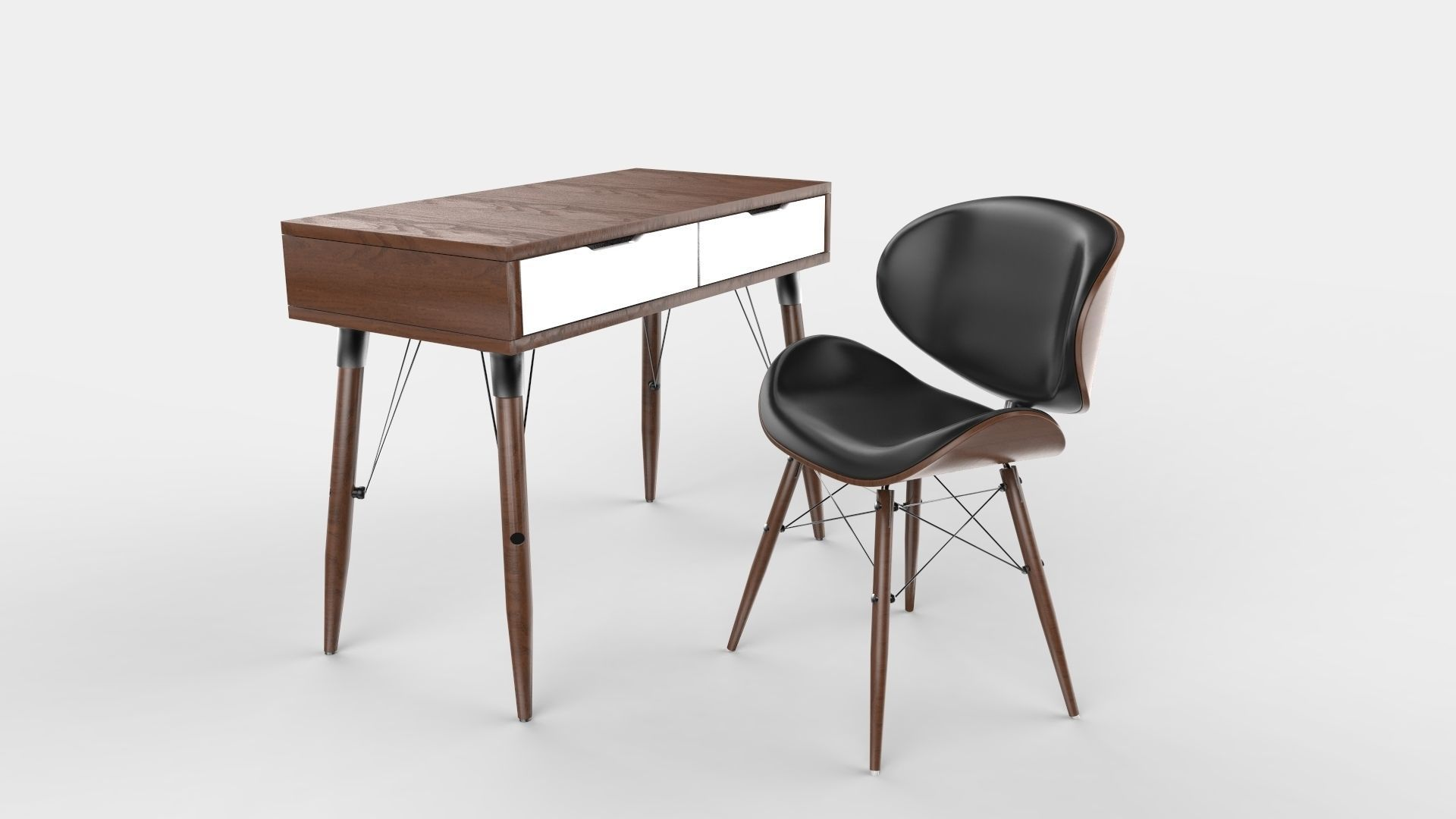 Mid century modern desk and chair combo 3d model obj mtl 3ds 1