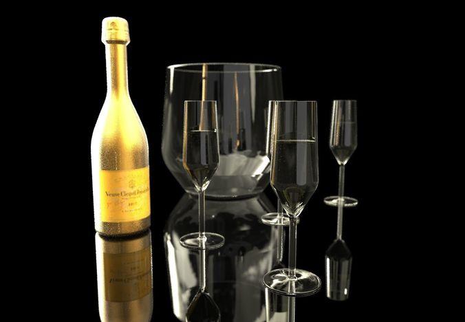 modern champagne set 3d model obj mtl 1