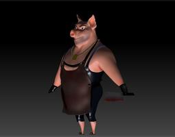 Butcher Pig CG-modeling Character 3D asset