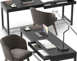 Minotti Fulton desk Creed chair set 3D