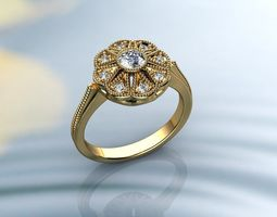 3D printable model Vintage Rings Gold Diamond Ring