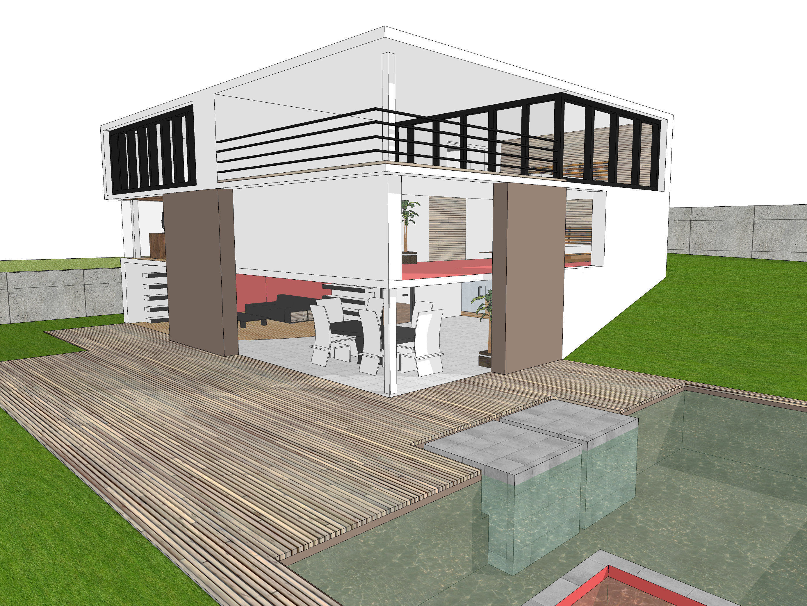 Exterior 3d Model Of Modern House Free 3d Model 3ds Dae Dwg Skp