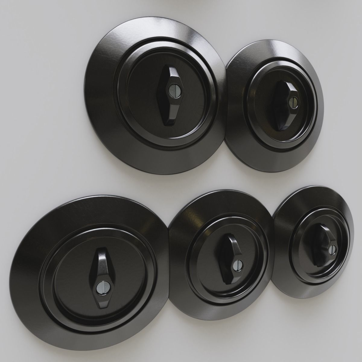Set of switches and wall sockets