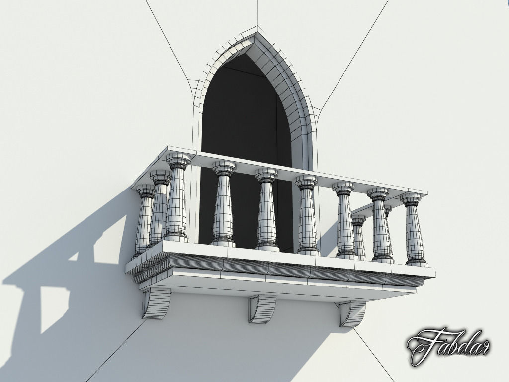 Balcony free free 3d model game ready max obj 3ds fbx for Balcony models