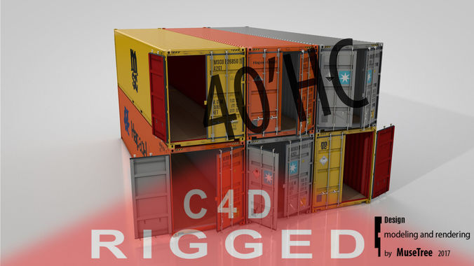 shipping container 40ft high cube rigged 3d model rigged animated fbx c4d 1