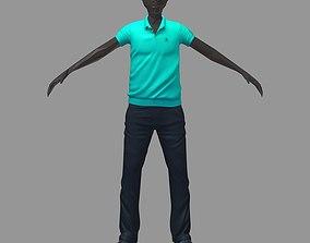 3D model avatar casual set green polo darck pants
