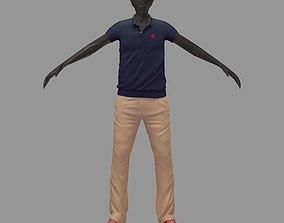 avatar casual set grey polo khaki pants red 3D model