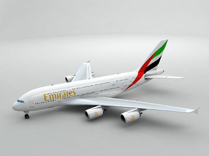 airbus a380 airliner - emirates 3d model low-poly max obj 3ds dxf stl wrl wrz 1