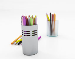Pencil pot set 3D model