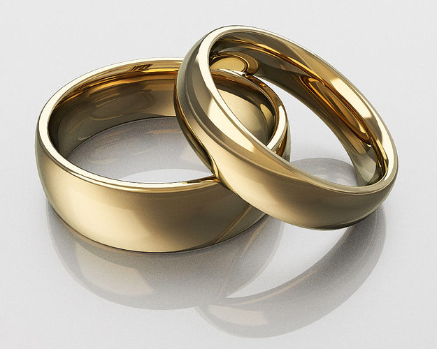 3d printable model classic wedding rings cgtrader