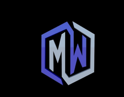 3D printable model MW initials logo