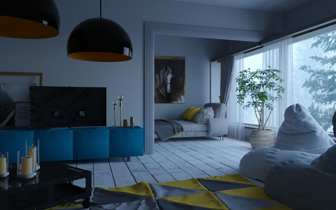 Living Room 3d Model Obj 3ds Fbx C4d Mtl