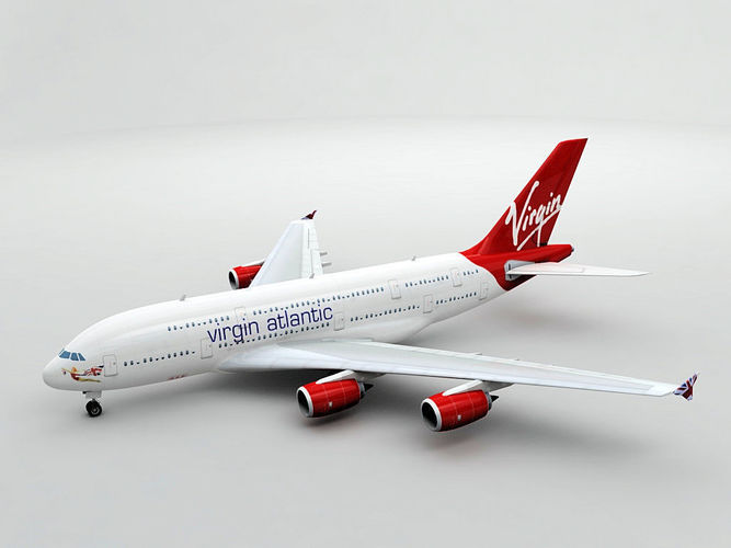 airbus a380 airliner - virgin atlantic 3d model max obj 3ds dxf stl wrl wrz 1