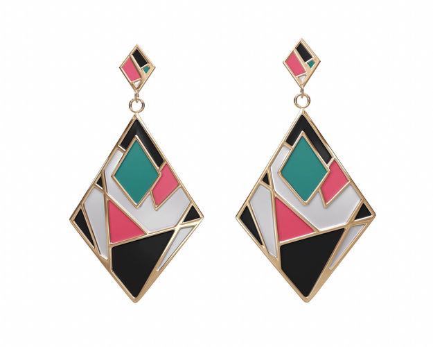Colorful Gold Enamel Earrings Model