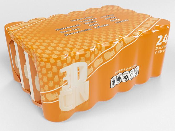 24 pack shrinkwrapped 330ml sleek cans 3d model max obj mtl fbx c4d blend 1