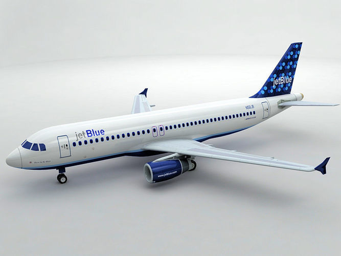 airbus a320 airliner - jet blue 3d model low-poly max obj mtl 3ds dxf stl wrl wrz 1