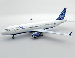 3D model Airbus A320 Airliner - Jet Blue -