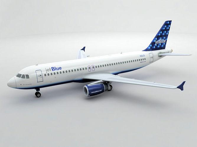 airbus a320 airliner - jet blue -  3d model max obj 3ds dxf stl wrl wrz 1