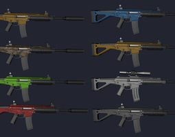 3D asset VR / AR ready Low Poly Weapons