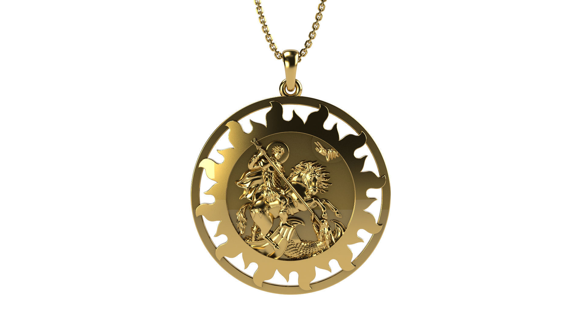dragon sanctus jorge jewelry from anniyo killing item pendants poderosa coin la saint de color san st georgius oracion gold george in plated pendant necklaces