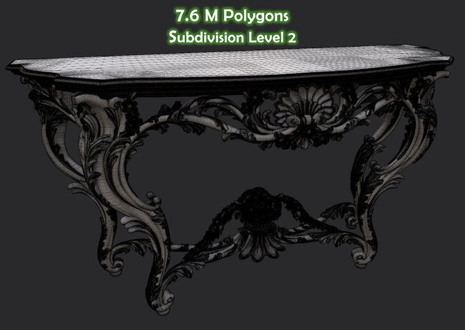 Vintage Gothic Marble Table 3d Model Max 15