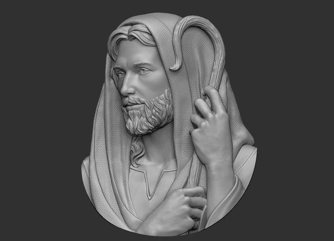 jesus the good shepherd pendant 3d model obj stl 1