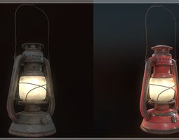 Low Poly Old Lantern Lamp PBR 3D model