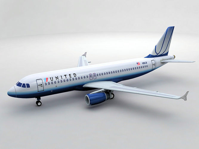 airbus a320 airliner - united airlines 3d model max obj 3ds dxf stl wrl wrz 1