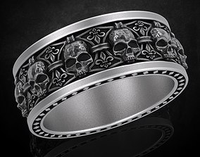 3D print model Ring skull with heraldic lily many sizes