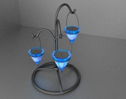 3D Modern Iron and Glass Chandelier