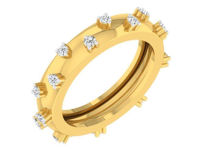 golden ring with diamonds 3d print model 76 3d model stl 3dm 1