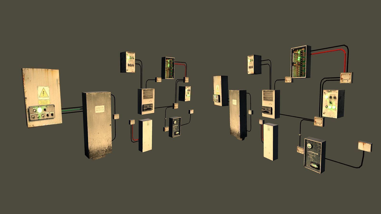 ... free game ready fusebox collection - clean and rusty 3d model low-poly  obj mtl