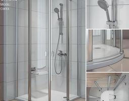 textured 3D Semicircular shower enclosures Ravak Chrome