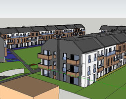 3D model 3story complex building