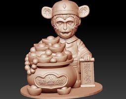 lucky monkey money 3D print model