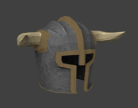 Detailed Low-Poly Helmet with Horns 3D model